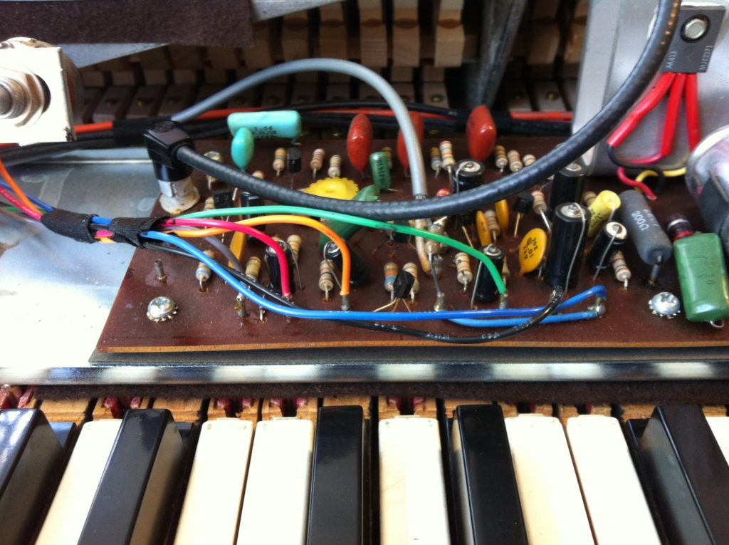 Electronics in a Fender Rhodes